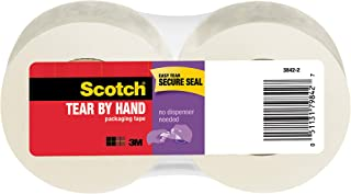 Scotch Tear-by-Hand Tape, 1.88 Inches x 50 Yards, 2-Pack (3842-2), Clear