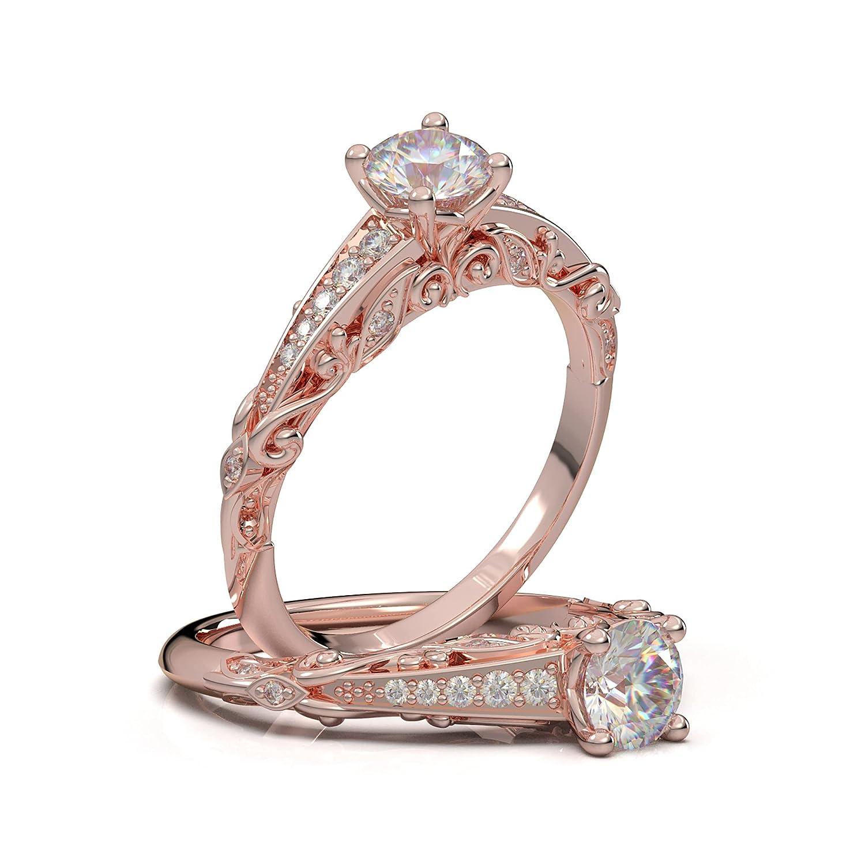 Max 77% OFF 14K Rose Ranking TOP3 Gold Vintage Engagement Floral Leaf Filigree Ring