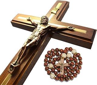 Handmade Crucifix Wall Cross – Wooden Catholic Hanging Crucifix for Home Decor – 12 Inch
