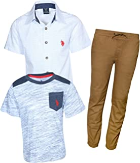Boys' 3 Piece Long Sleeve Woven, T-Shirt, and Twill...
