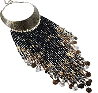 Vintage Jewelry Statement Bib Necklace Resin Seed Beads Tassels Tribal Necklace African Long Fringe Necklace for Women&Girls