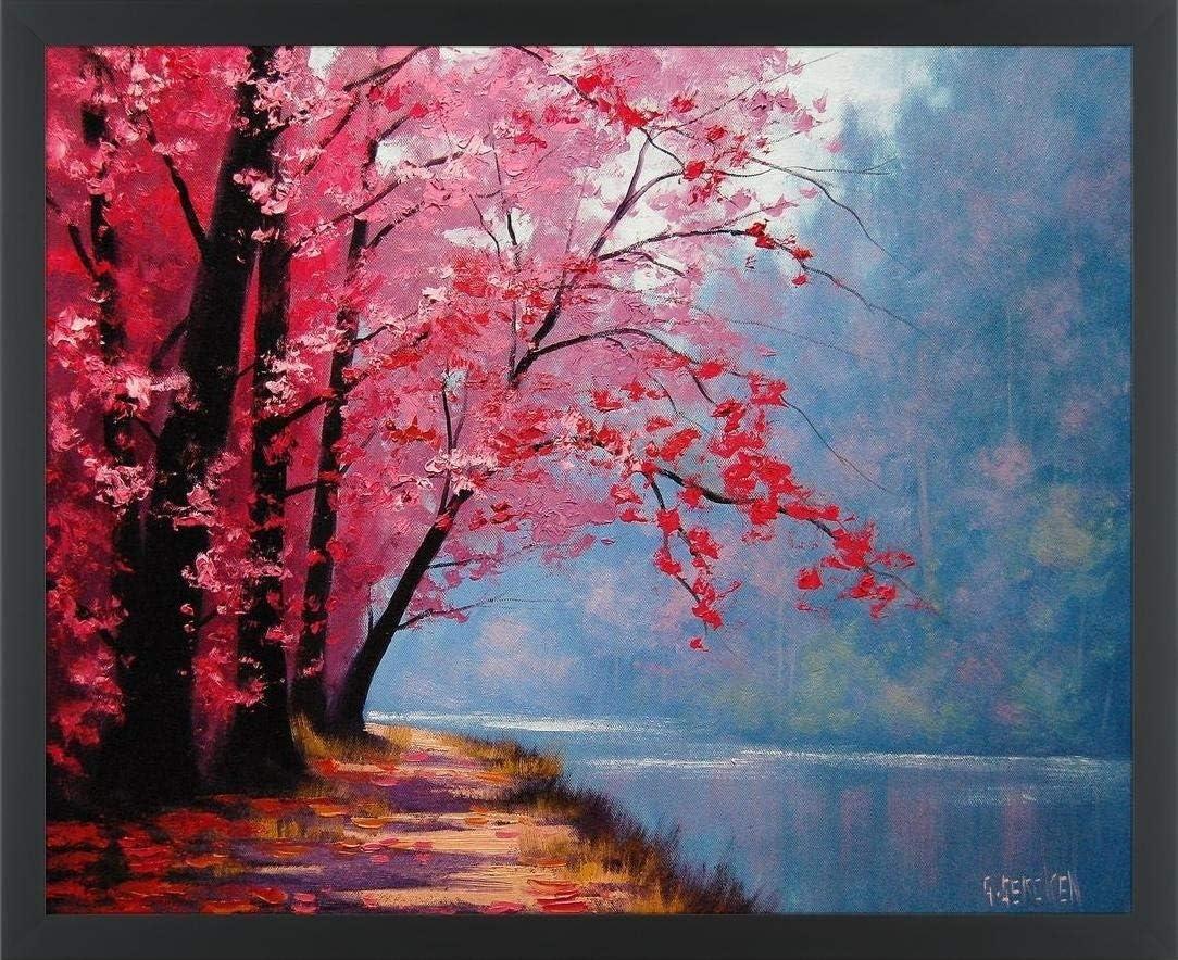 Amazon Com Easy Art Prints Graham Gercken S River Bend Premium Framed Canvas Art 8 X 10 Classic Black Frame Posters Prints