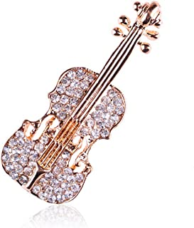 Reizteko Crystal Rhinestones Brooch Pin Fashion Girl Jewelry Faux Pearl Bead Brooches Pins (Violin)