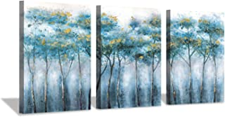 Blue Abstract Artwork Forest Pictures: Tree Landscape Painting on Canvas Wall Art (12
