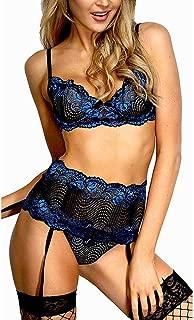 iQKA Sexy Lingerie for Women, Lace Teddy Babydoll Bodysuit Perspective Eyelash Nightwear Underwear Suit Outfit