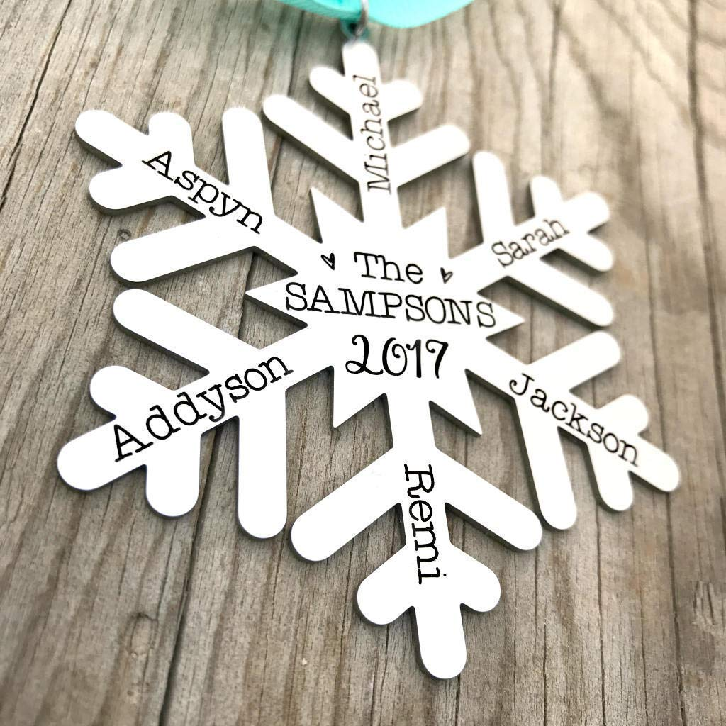 Personalized Engraved Snowflake Family Tree Christmas - outlet New arrival Ornament