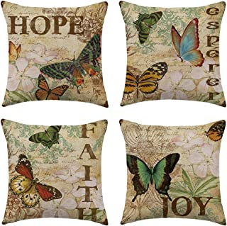 WFLOSUNVE Retro Butterfly Decorative Throw Pillow Covers 18