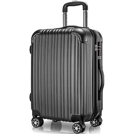 VARNIC スーツケース キャリーケース キャリーバッグ 機内持込 PC材質 耐衝撃 大型 超軽量 静音ダブルキャスター TSAロック搭載 旅行 出張 (M サイズ(65L), 黒)