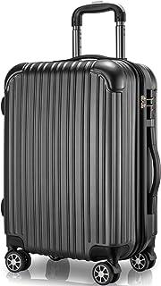 VARNIC スーツケース キャリーケース キャリーバッグ 機内持込 PC材質 耐衝撃 大型 超軽量 静音ダブルキャスター TSAロック搭載 旅行 出張 (S サイズ(40.5L/機内持込), 黒)