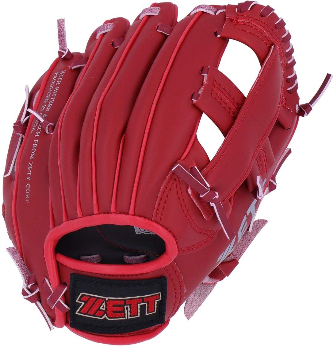 突破口バーマド並外れてゼット(ZETT) 少年野球 軟式 グローブ オールラウンド 初心者用 衝撃吸収パッド付き 9.5インチ (幼児用) レッド BDG2212
