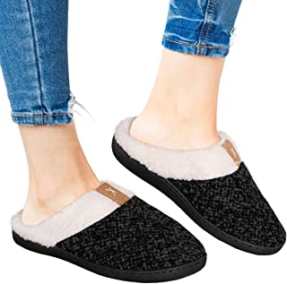 Nailyhome Womens Memory Foam Slippers Wool-Like Plush Fleece Lined House Slippers Slip On Indoor and Outdoor Shoes