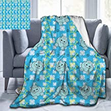 Christmas Throw Blanket Yellow and Blue Baby Blanket,Funny Cartoon Hippopotamus with Stars and Cute Daisy Flowers Baby Small Fleece Blanket,Light Blue White Yellow