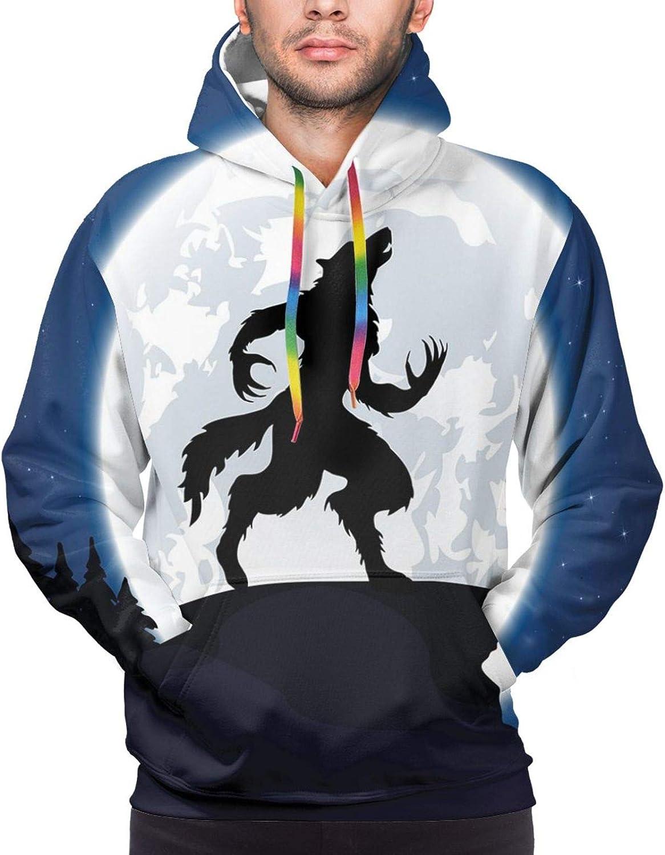 Men's Hoodies Sweatshirts,Full Moon Night Sky Dusk Digital Style Minimal French Flag Eiffel Tower Digital Art