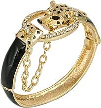 EVER FAITH Women's Austrian Crystal Black Enamel Punk Leopard Head Bangle Bracelet