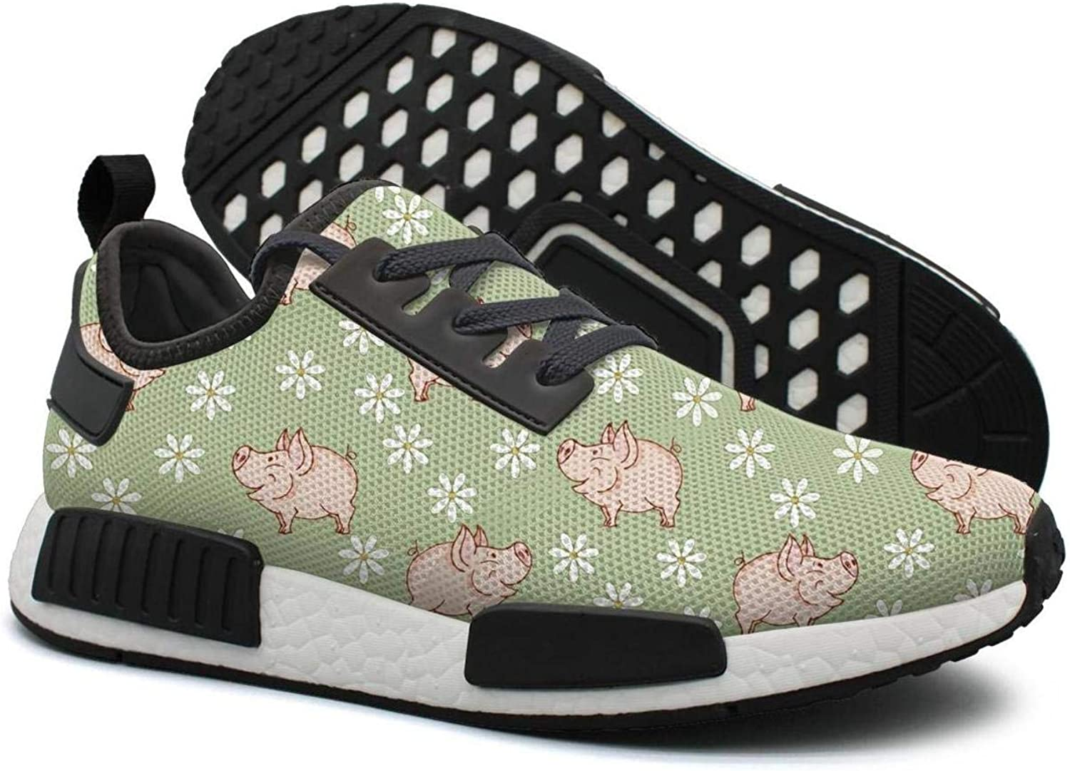 Genie Pig with Daisy in The Green Meadow Women's Novelty Lightweight Sneakers Gym Outdoor Sports shoes