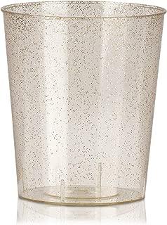 Juvale 100-Pack Bulk 2 Ounce Glitter Gold Plastic Disposable Party Shot Glasses