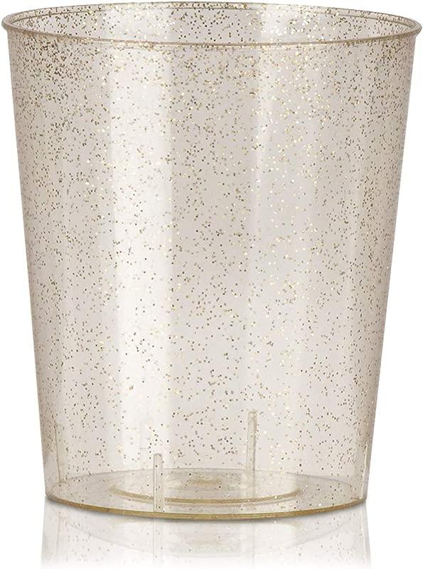 Juvale 100 Pack Bulk 2 Ounce Glitter Gold Plastic Disposable Party Shot Glasses
