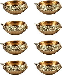 Hashcart Handmade (Set of 20) Indian Puja Brass Oil Lamp - Golden Diya Lamp Engraved Design Dia - 2.5 Inch