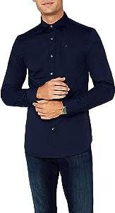 Tommy Jeans Herren Original Stretch Lang - Regulär Slim Fit Freizeithemd Blau (BLACK IRIS-PT 002), S
