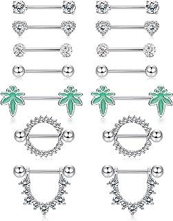 Milacolato 7Pcs 14G Anillos De Pezón De Acero Inoxidable Para Mujeres Hombres Nipplerings Piercing Barbell Body Jewelry Pa...