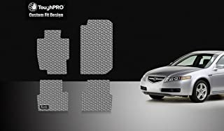 ToughPRO Floor Mats Set Compatible with Acura TL - All Weather - Heavy Duty - (Made in USA) - Gray Rubber - 2004, 2005, 2006, 2007, 2008 (Front Row + 2nd Row)