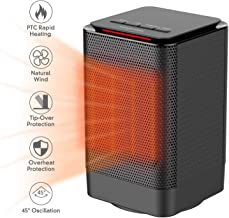 DOUHE Space Heater, Portable Electric Ceramic Heaters for Office, Quiet Personal Heaters Under Desk, Oscillating Floor Heater with Tip-Over&Overheating Protection for Home,ETL Certified