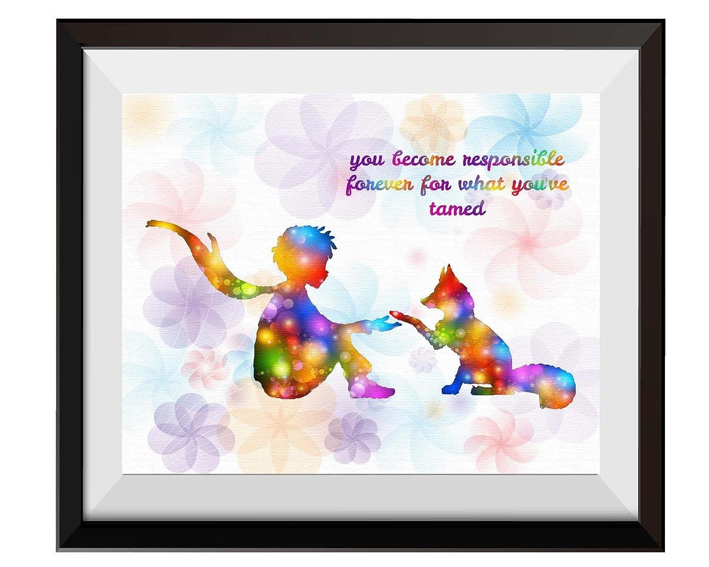 強盗鎮痛剤人生を作るuhomate The Little Prince Fox Le Petit Prince Little Princeホームキャンバス印刷ウォールアート記念ギフトベビーギフトインスピレーション引用符壁装飾リビングルームベッドルームバスルームアートワークc087 8X10 inch