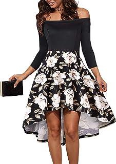 baed904784 LEORAY Women Off The Shoulder Pockets Vintage Patchwork High Low Skater  Party Cocktail Dress