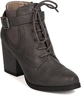 Michael Antonio Women Leatherette Almond Toe Lace Up Block Heel Bootie FI51