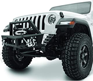 Razer Auto Black Stubby Rock Crawler Front Bumper w/Winch Plate & 2x D-Ring & 4x LED Light Mount Hole for 18-19 Jeep Wrangler JL