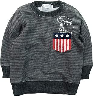 《秋冬对应》SHORH KID'S(儿童)变换编织横条纹起毛 带口袋的运动衫 NO.SD-70284 [対象] 30ヶ月 ~ 炭灰色 90
