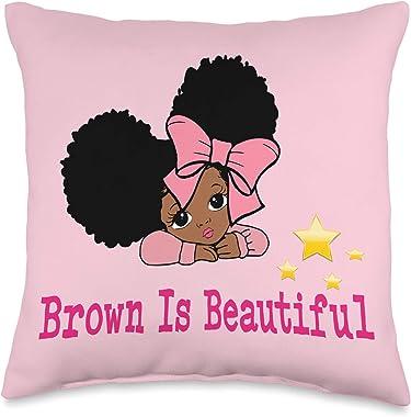 DesignsByKelley Cute Black Girls Accessories Decor Bedroom Throw Pillow, 16x16, Multicolor