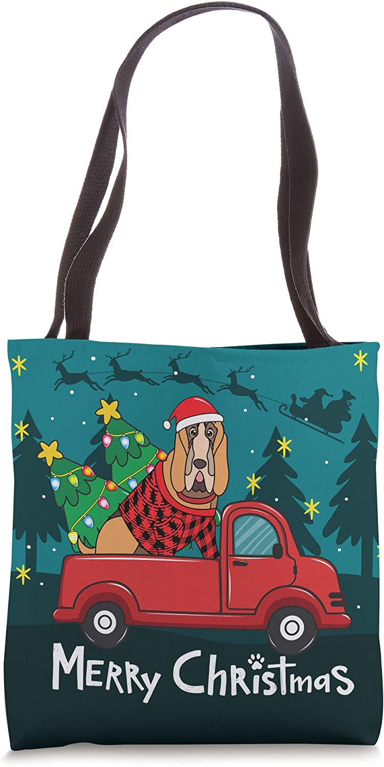 Bloodhound Christmas Dog Truck Funny Xmas Gift Tote Bag