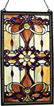 Brandi Collection Stained Glass Panel: 26 Inch Decorative Window Hanging - Tiffany Style Framed Hangings for the Wall or Windows - Large Vertical Decoration in Brown, Amber and Yellow