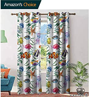 Big datastore Pattern DIY Available Curtain,JellyfishTropical Coral Reef with Seaweed Algae Jellyfish Aquatic Saltwater Nemo Theme,with Solid Grommet Top,Multicolor,W108 xL108