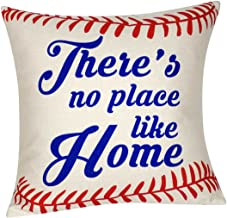 DECOPOW Baseball Pillow Theres No Place Like Home Throw Pillow Cover, Decorative Throw Pillow Case Square 18X18 Inches (No Place Like Home)