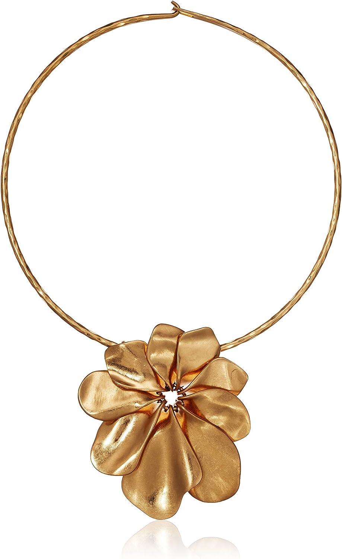 Robert Lee List price Morris 1 year warranty Women's Sculptural Gold Nec Wire Flower Collar
