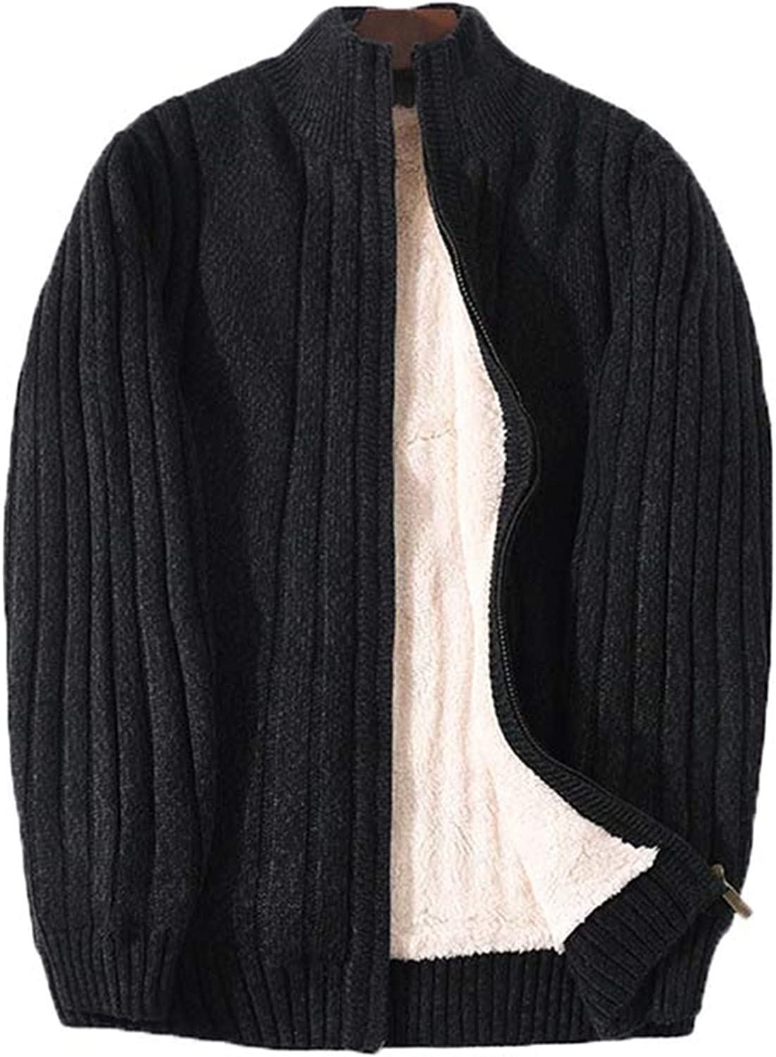 Lamb Cashmere Winter Men Sweaters Knitted Black Cotton Thicken Warm Cardigan