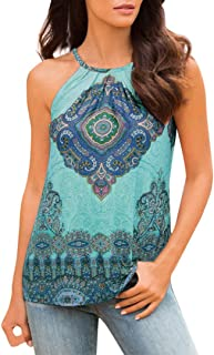Livoty Women Summer Beach Vest Top Sleeveless Blouse Casual Tank Loose Tops T-Shirt