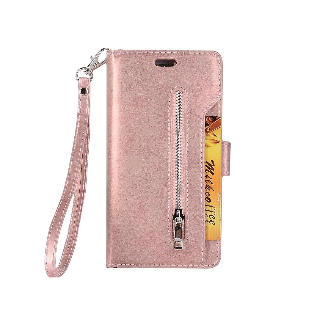 利益報復する導出iPhone Xr 保護ケース 多機能、SIMPLE DO レザーケース 収納型 財布型 マグネット式吸着 スタンド機能 ジッパー付き 盗難防止 防水 耐汚れ ビジネス用(ローズゴールド)