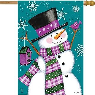 "Briarwood Lane Winter Wonderland Snowman House Flag Primitive 28"" x 40"""