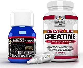 Nutracell Labs Anabolic Muscle Stack : Testo Extreme Anabolic & 10 Blend Decabolic Creatine - Strongest Legal Testosterone Booster / Creatine Powder