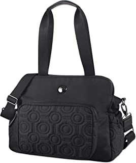 OiOi Quilt Triple Tote Baby Diaper Bag Satchel - Black