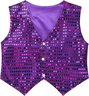 MSemis Kids Boys Shiny Party Costume Vests Sequins Waistcoat for Hip-hop Jazz Dance Stage Performance