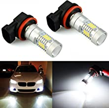 JDM ASTAR 2520 Lumens Extremely Bright PX Chips H11 LED Fog Light Bulbs with Projector for DRL or Fog Lights, Xenon White