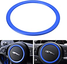 iJDMTOY (1) Blue Aluminum Steering Wheel Center Decoration Ring Cover Trim For Jaguar F-Pace E-Pace XE XF