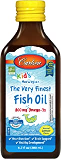 Carlson - Kid's The Very Finest Fish Oil Liquid, 800 mg Omega-3s, Norwegian, Wild-Caught Fish Oil, Omega 3 Liquid for Kids...