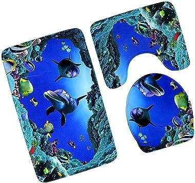 Yunhany Direct 3Pcs/Set 3D Dolphin Print Bathroom Rug Set Anti-Slip Absorbent Bathroom Rug + U-Shaped Toilet Mat + Toilet Sea