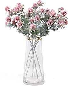TBUY 3 Pack Artificial Eryngiums Eryngium Faux Plants for Garden Wedding Prom Party Bouquet Floral Arrangement (Pink)