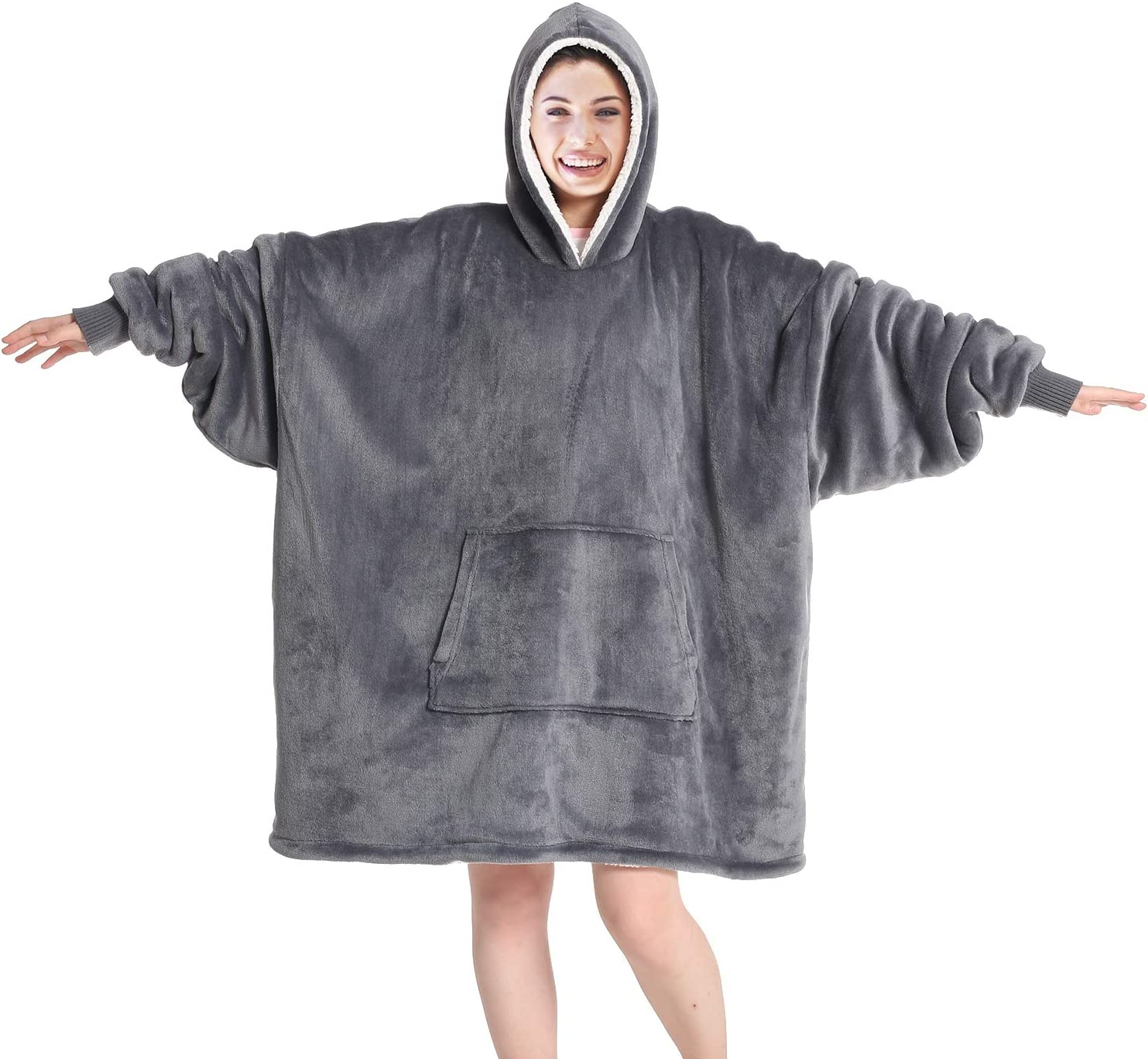 Touchat Wearable Blanket Hoodie, Oversized Sherpa Blanket Sweatshirt with Hood Pocket and Sleeves, Super Soft Warm Comfy Plush Hooded Blanket for Adult Women Men, One Size Fits All (Grey)